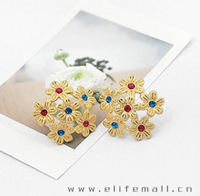 Min.order $10 (mix order) Accessories blue red personalized small flower rhinestone stud earring earrings e325
