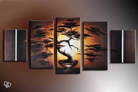 100% Hand painted Flowerpot trees sun Abstract landscape Wall home Decor Oil Painting on canvas 5pcs