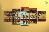 100% Hand painted African sunrise giraffes walk landscape Oil Painting on canvas 5pcs