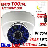 """1/3"""" SONY CCD 700TVL EFFIO-E  OSD Video Cameras 48 Blue LEDs IR Dome CCTV Camera Free Shipping"""