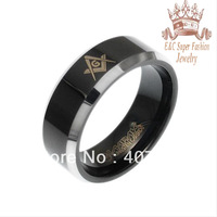 Brand New - Black Tungsten Carbide Beveled Edge Brushed Finish 8mm Masonic Ring