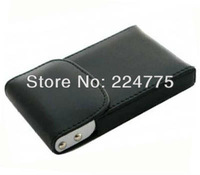 Free Shipping Men's/Women' s Unisex Brown Black Leatherette Business Name Credit ID Card Holder Box Case