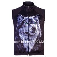 Free Shipping,Hot Sale Men's 3D animal Wild Wolf Printed Gothic Punk Casual Fleece Bodywarmer Gilet Vest, S-5XL,Plus Size