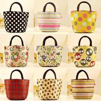 Small canvas bag handbag women's handbag lunch bag portable small bag lunch box bag stripe handbag oxford fabric women's handbag