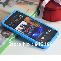 Free shipping 1pcs New Soft Gel Silicone Skin Cover Case for HTC ONE M7 mix color