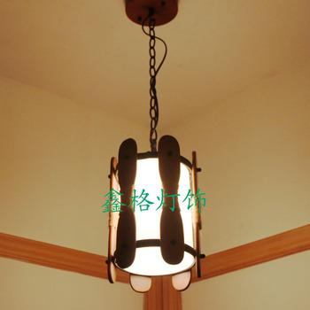 Chinese style antique wooden glass pendant light american restaurant lamp bar lights aisle lights balcony lamp lamps