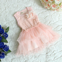 Wholesale 4 pcs/lot lace cutout small flower vest one-piece dress multi-layer tulle dress 41110
