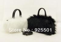2013 autumn and winter bags Hot influx of women lovely imitation of rabbit fur shoulder bag Messenger packet black, white B026