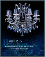 Free Shipping Luxury Maria Theresa Crystal Suspended Ceiling Lighting with Fabric Lampshades (Model:CC-N074-8)