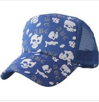 Free shipping Korean Fashionable hat skull pattern summer mesh truck cap men and women