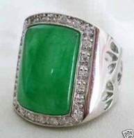 Beautiful Tibet silver Green Jade Men's Rings Size 8-11/ Free Shiping