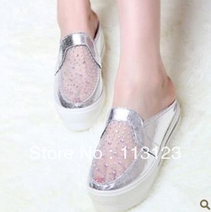 free shipping Rhinestone paillette gauze platform wedges platform candy color low casual shoes single shoes female shoes