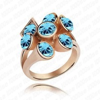 Free Shipping!!! Women's Stars Style 18K Rose Gold Plated & Sea Blue Crystal Wedding Ring Made With Swarovski Elements (4173)