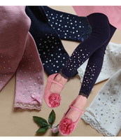 5pcs/lot girls cotton solid leggings pants girl's dark blue pink lace legging