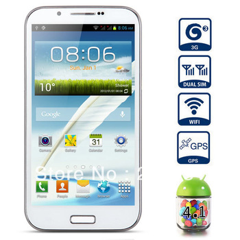 5.3 inch Phablet N7100 Android 4.1 3G Smart Phone with QHD Screen Dual Core 1GHz Dual SIM GPS WiFi 8MP Camera (White)