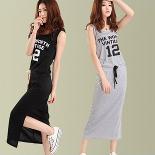 2013 summer casual letter one piece full dress with a hood vest long design sports one-piece dress braces skirt female skirt