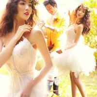 Feather short design bridesmaid dress wedding dress skirt bridal spring bridesmaid dress 1708