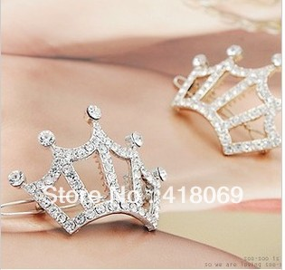 Edge clip hairpin head jewelry Korean jewelry rhinestone crown hairpin(China (Mainland))