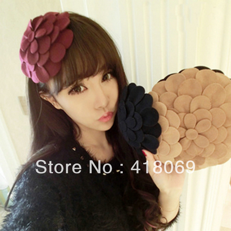 korean imported jewelry the Orecchiette wide hat hair bands headdress hair accessories hairpin / wool flower hair bands(China (Mainland))