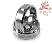 Tungsten Ring With Flat Brush and Beveled EdgesTungsten Carbide Wedding Band for men and women