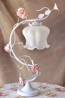 42cm White Iron pink rose flower glass table lamp light lighting IKEA Vintage wedding bedroom gift E27 free shipping