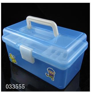 free shipping 4 double layer transparent plastic tool box pencil box pencil box storage box 557(China (Mainland))