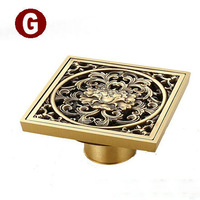 Full Copper Casting Art Deodorant Drainer Bathroom Strainer Tile-In Square Decorative Pop-Up Drain Cover