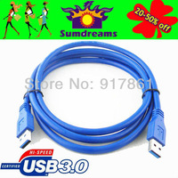 Premium Quality 10ft 10FEET USB 3 0 A Male to A Male Cable Blue 1.5M Free Shipping & Wholesale