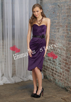 Free Shipping Plus Size 2014 New Fashion Cheap Cute Cheap A-Line Sweetheart Knee-Length Sashes Purple Taffeta Bridesmaid Dresses