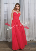 Free Shipping Exquisite 2014 New Cheap Designer A-Line Spaghetti Strap Floor Length Pleat Watermelon Chiffon Bridesmaid Dresses