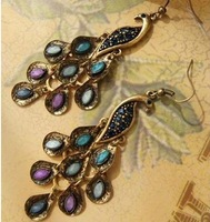 Min.order  $15 (mix order)  Fashion  Fashion Retro peacock blue Imitation diamond Earrings   Free Shipping! AE010