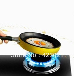 Creative Happy Time Omelette Pan Wall Clock Art Design Fried Egg Clock yellow green pink red gold blue(China (Mainland))