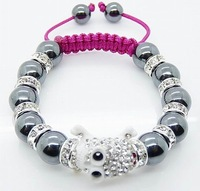 ShambWholsale 2013 fashion Shambhala Bracelets with crystal Alloy Beads Black line S1B63