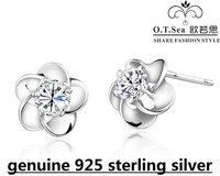 wholesale 100% pure 925 sterling silver platinum crystal flower stud earrings fine jewelry GE025
