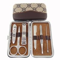 Brown decorative pattern manicure set tungsten finger scissors six pieces set gw smiley