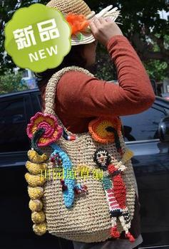 Tsumori chisato jungle girl flower straw bag hand hooked bags