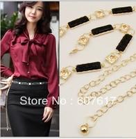 diamond metal waist fashion chain women's chain/belt