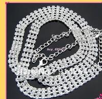 Lots 6pcs 3Row Fashion Crystal Rhinestone Chain Belts    free shipping