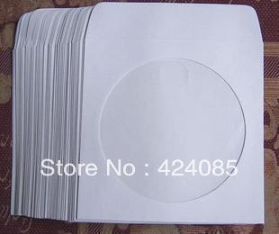FREE SHIPPING 600 PCs White CD DVD R Disc Paper Sleeve Bag Envelope With 4&quot; Clear Window 100G Paper(China (Mainland))