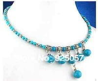 Genuine Tibet silver Turquoise Necklace /Halskette Fashion jewelry