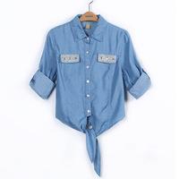 hot sale 2014 new arrival fashion turn down denim women blouses women jean blouse