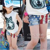 2013 fashion female child summer color block decoration child denim shorts