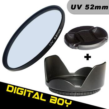 (3pcs/1lot)1pcs Digital Boy 52mm UV  Lens Filter+52mm Lens Hood +52mm Lens CAP Filter kit Protector for Canon Nikon d3100 d5100