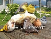 Creative Resin Crafts Artificial Birds Garden Home Shop Decoration Gifts 6pcs Freeshipping