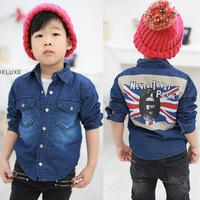 Boys spring  Autumn Union Flag shirts long-sleeve children's clothing jeans shirt Kids Hot sale denim shirt u6020