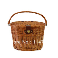 Utility  Wicker  Bicycle front basket  with handle and lid (honey-colored)
