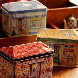 zakka Sweet House Candy Cookie Jar Tin Box Crafts Classics Food Sundries Iron Storage Box Office Home Decoration Gift 3pcs/set(China (Mainland))