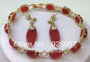 Red Ruby Link Jewelry bracelet earrings set Fashion jewelry