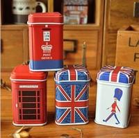 zakka Tin Box Crafts Candy Jar Food Sundries Iron Storage Box Tooth pick holder Home Decoration Gift  4pcs/set