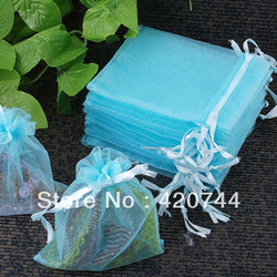 100Pcs Organza Drawstring Gift Jewelry Bag Pouch Light Blue CHIC(China (Mainland))
